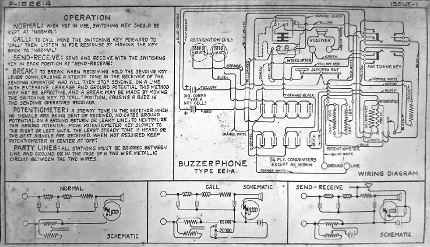 US Army WW 1 Buzzerphone Handset Wiring Diagram Army on